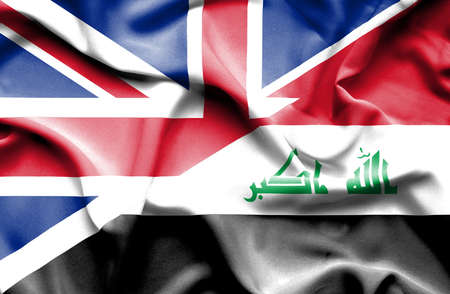 iraq conflict: Waving flag of Iraq and Great Britain