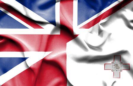 great britain: Waving flag of Malta and Great Britain