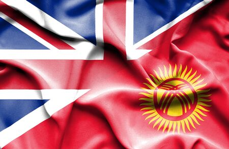 great britain: Waving flag of Kyrgyzstan and Great Britain Stock Photo