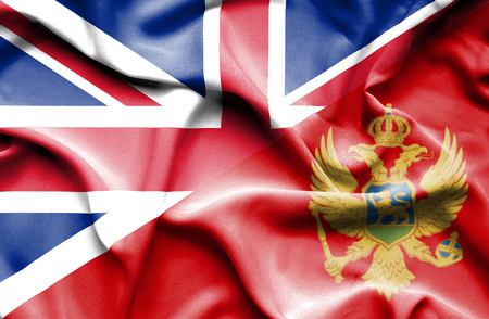 great britain: Waving flag of Montenegro and Great Britain Stock Photo