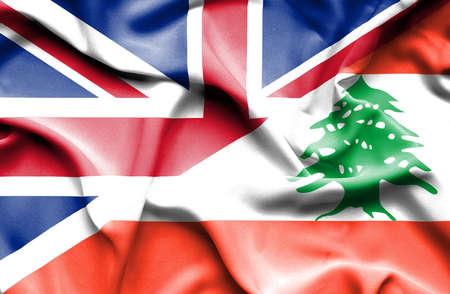 great britain: Waving flag of Lebanon and Great Britain