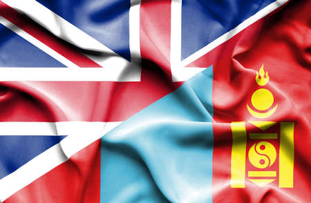 great britain: Waving flag of Mongolia and Great Britain