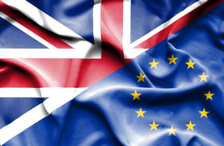 great britain: Waving flag of European Union and Great Britain Stock Photo