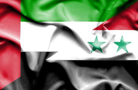 syria peace: Waving flag of Syria and United Arab Emirates