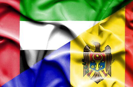 moldavia: Waving flag of Moldavia and United Arab Emirates