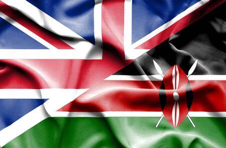 great britain: Waving flag of Kenya and Great Britain