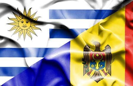 moldavia: Waving flag of Moldavia and Uruguay Stock Photo