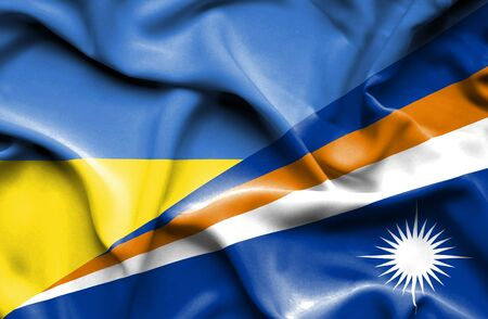 marshall: Waving flag of Marshall Islands and Ukraine