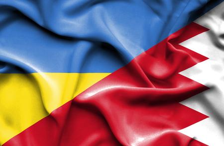 bahrain money: Waving flag of Bahrain and Ukraine