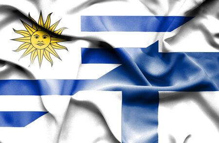 uruguay: Waving flag of Finland and Uruguay
