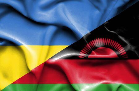 malawian flag: Waving flag of Malawi and Ukraine