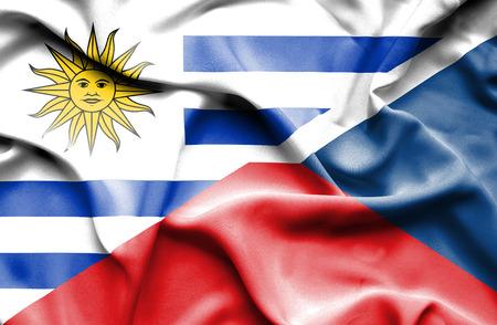 the czech republic: Waving flag of Czech Republic and Uruguay
