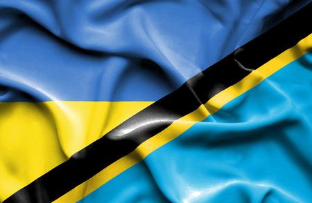 tanzania: Waving flag of Tanzania and Ukraine Stock Photo