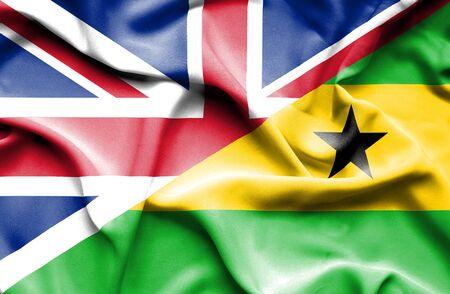 principe: Ondeando la bandera de Santo Tomé y Príncipe y Reino Unido