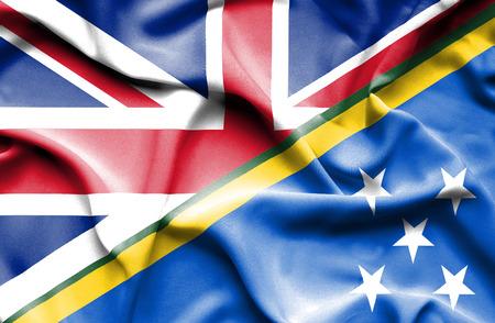 solomon: Waving flag of Solomon Islands and United Kingdom
