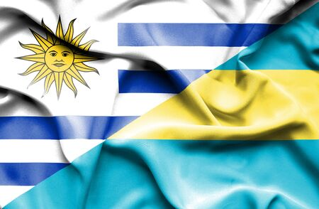 bahamas: Waving flag of Bahamas and Uruguay