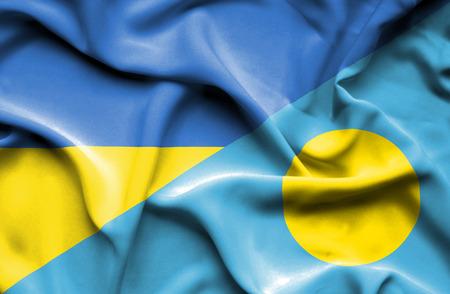 palau: Waving flag of Palau and Ukraine