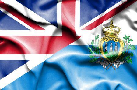 san marino: Waving flag of San Marino and United Kingdom