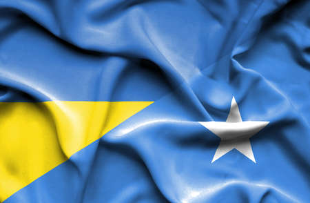 somalian culture: Waving flag of Somalia and Ukraine Stock Photo