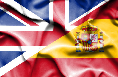 Waving flag of Spain and United Kingdom