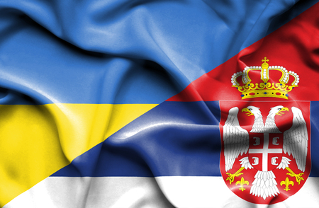 serbia: Waving flag of Serbia and Ukraine