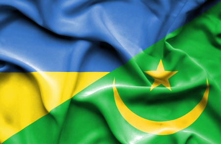 mauritania: Waving flag of Mauritania and Ukraine