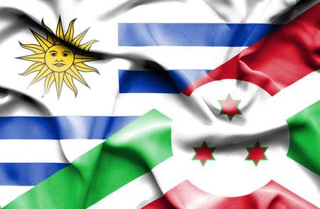 burundi: Waving flag of Burundi and Uruguay