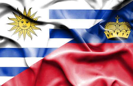 lichtenstein: Waving flag of Lichtenstein and Uruguay