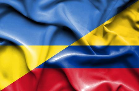 columbia: Waving flag of Columbia and Ukraine
