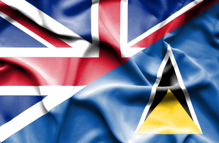 st lucia: Waving flag of St Lucia and United Kingdom