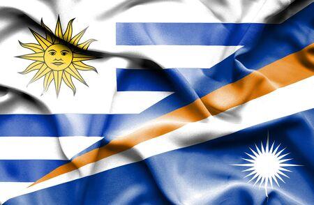 marshall: Waving flag of Marshall Islands and Uruguay