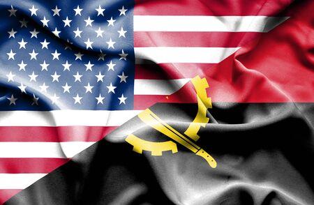 angola: Waving flag of Angola and USA