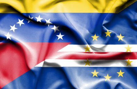 cape: Waving flag of Cape Verde and Venezuela Stock Photo