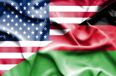 malawian flag: Waving flag of Malawi and USA Stock Photo