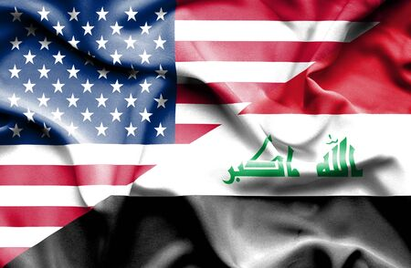 iraq conflict: Waving flag of Iraq and USA