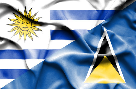 st lucia: Waving flag of St Lucia and Uruguay