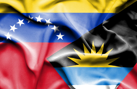 antigua: Waving flag of Antigua and Barbuda and Venezuela