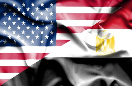 Waving flag of Egypt and USA