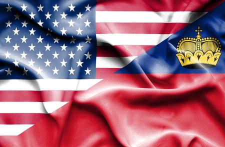 lichtenstein: Waving flag of Lichtenstein and USA