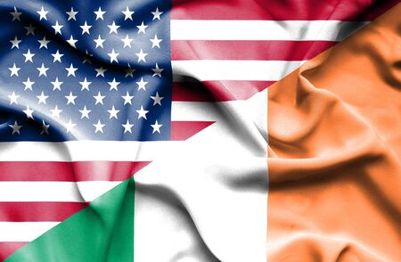 irish history: Waving flag of Ireland and USA