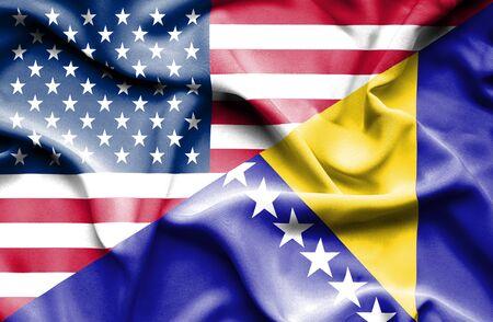 herzegovina: Waving flag of Bosnia and Herzegovina and USA
