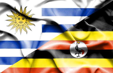 uganda: Waving flag of Uganda and Uruguay