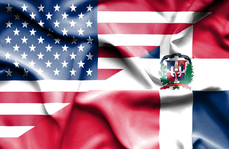 dominican republic: Waving flag of Dominican Republic and USA Stock Photo