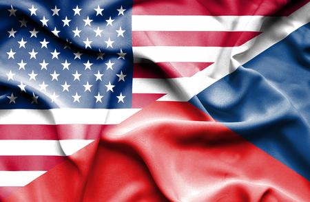 the czech republic: Waving flag of Czech Republic and USA Stock Photo