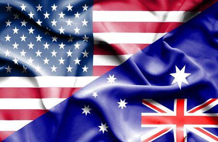 usa flags: Waving flag of Australia and USA