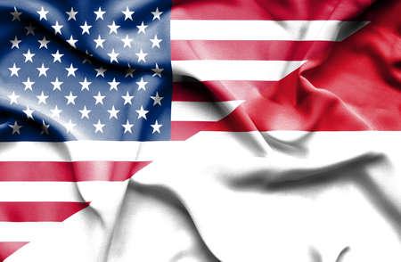 monaco: Waving flag of Monaco and USA