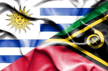 vanuatu: Waving flag of Vanuatu and Uruguay Stock Photo