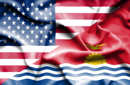 kiribati: Waving flag of Kiribati and USA Stock Photo