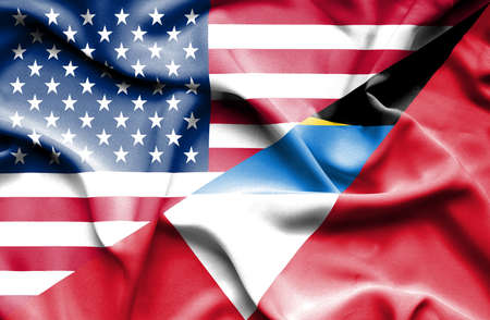 antigua: Waving flag of Antigua and Barbuda and USA Stock Photo