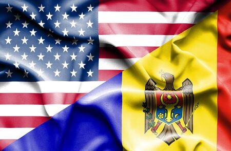 moldavia: Waving flag of Moldavia and USA Stock Photo